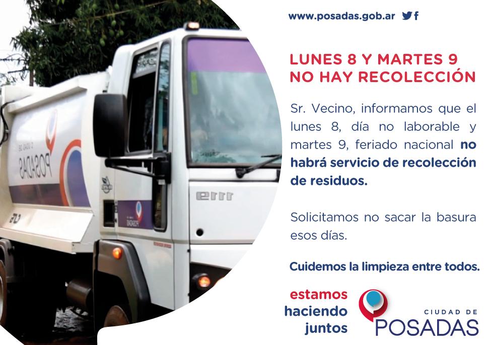 El lunes 8 y martes 9 de julio no habrá recolección de residuos en Posadas