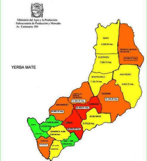 Resultado de imagen para Zona productora de yerba mate. mapa